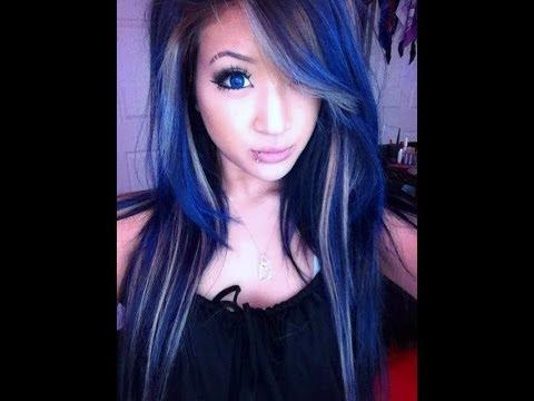 dyed dark blue hair manic