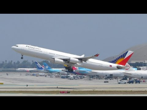Philippines Airlines Airbus A340-300 [RP-C3438] Takeoff from Los Angeles LAX [Full HD]
