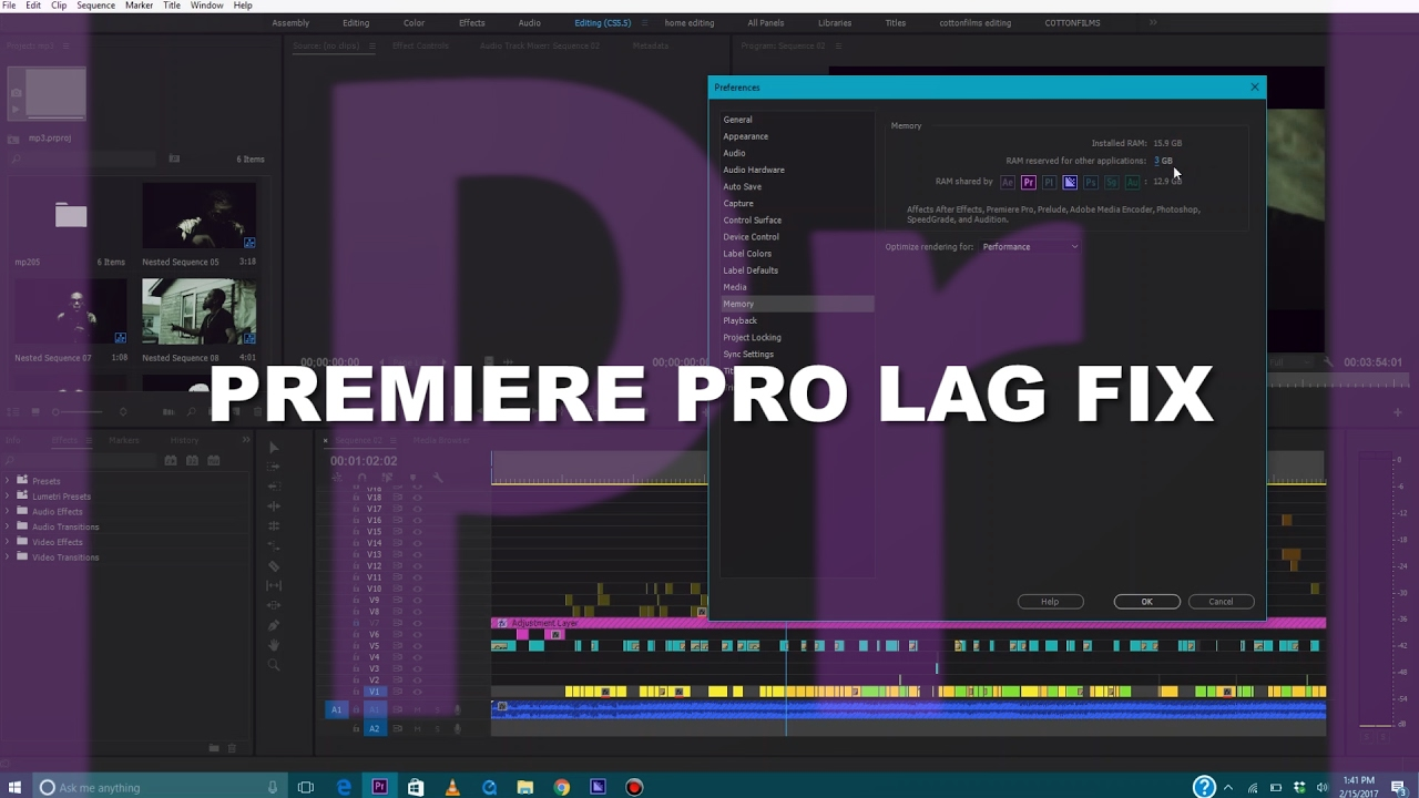 How to Stop LAGGING In ADOBE PREMIERE PRO CC