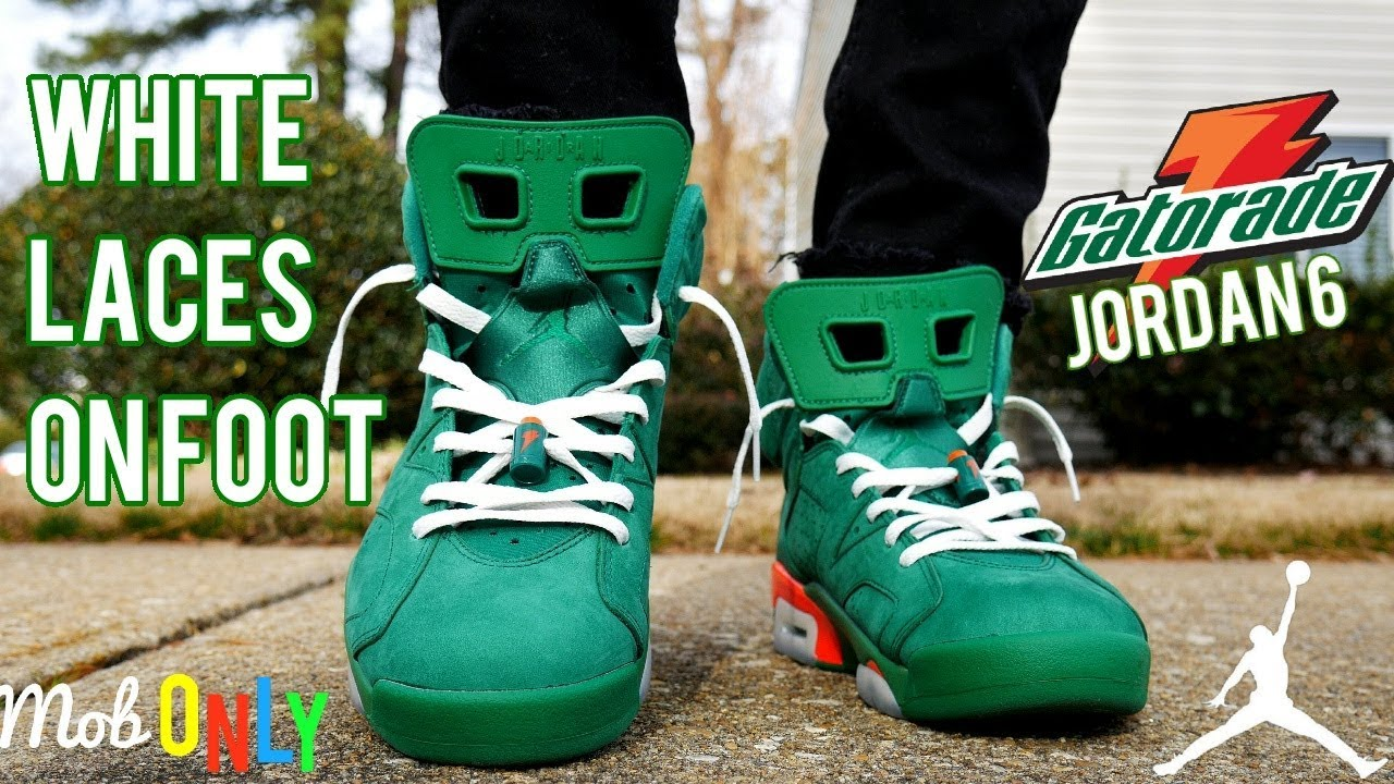da29b2e0d1641d Green Gatorade 6 With White laces On Foot 4k - YouTube