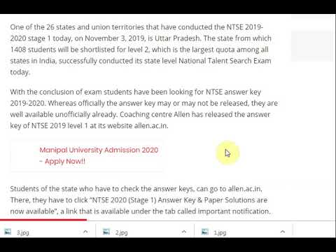 NTSE Uttar Pradesh Answer Key 2019-2020 Released For Stage 1, Know How T...
