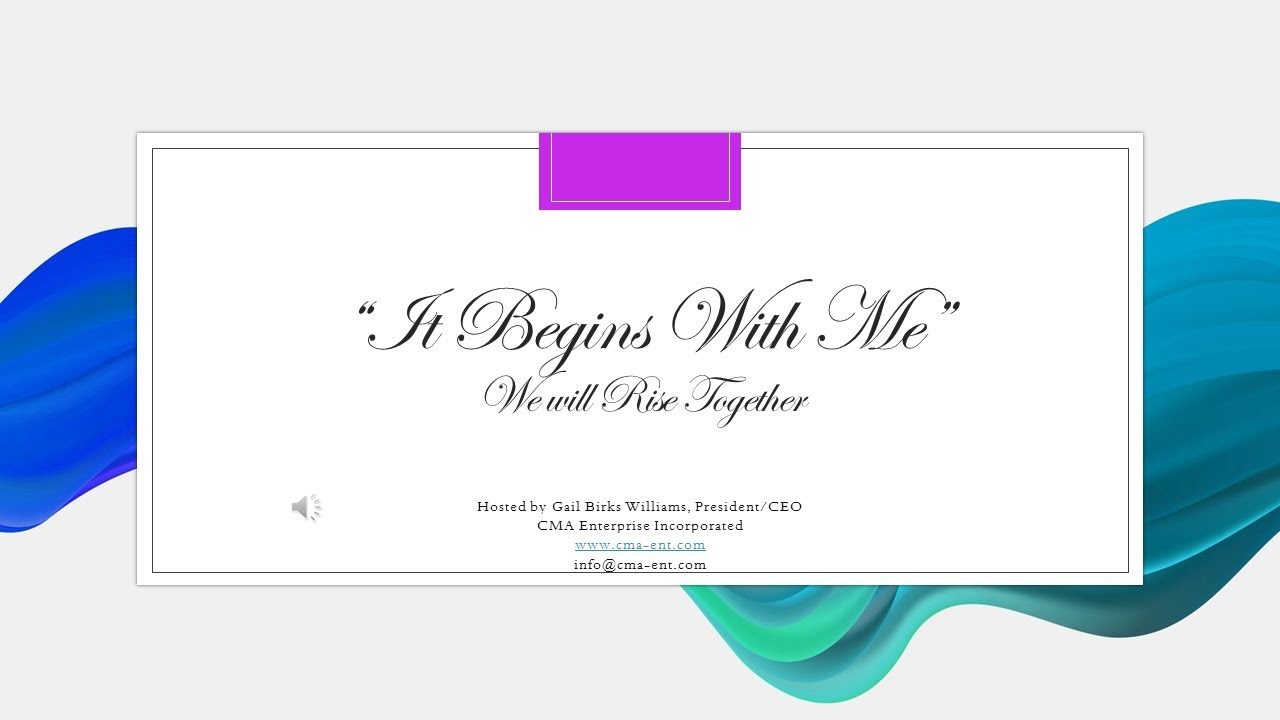 "June 9th Webinar gives thought to ""It Begins With Me."""