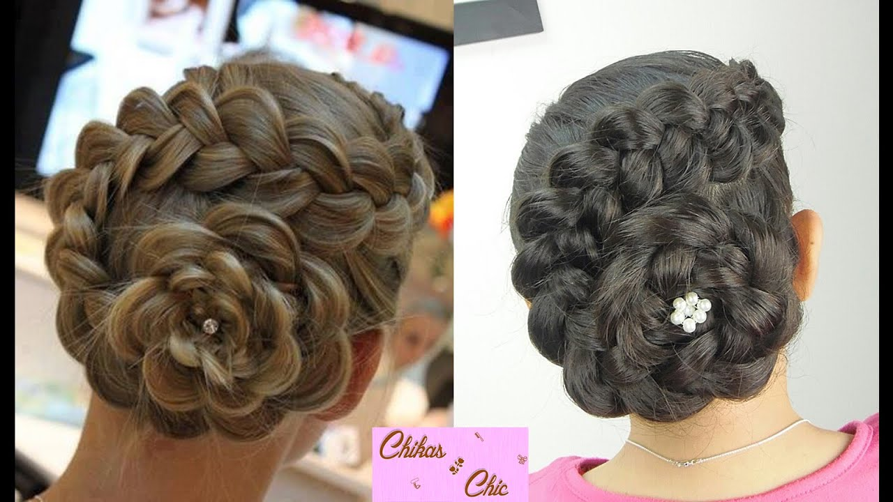 Dutch Flower Braid Flower Bun Updo Hairstyles  YouTube - Cute Hairstyles