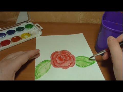 Как нарисовать розу по клеточкам.