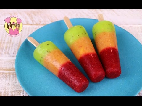Thumbnail: TRAFFIC LIGHT POPSICLE - Ice lolly - healthy kids frozen fruit ice block pop with strawberry