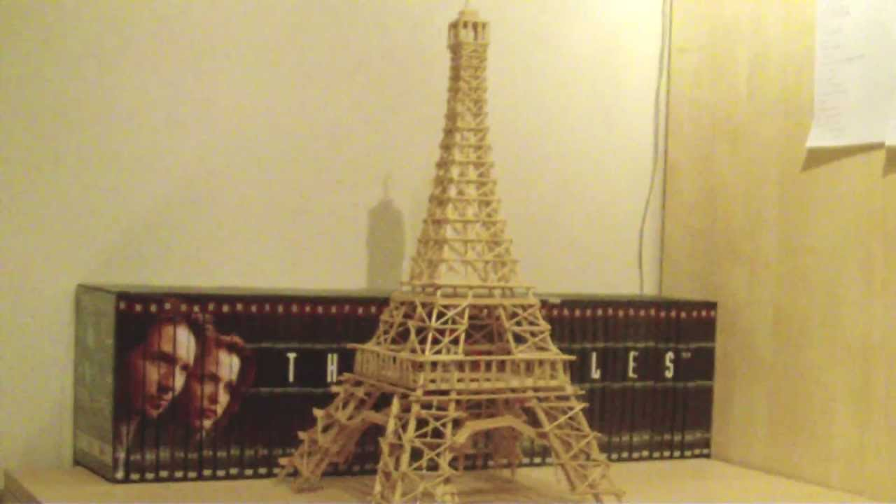 Eiffel Tower Made From Toothpicks Skewers And Ice Lolli