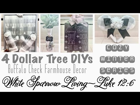 4 DOLLAR TREE DECOR DIY | COZY WINTER SERIES | USING BUFFALO CHECK BABY BLANKET | EPISODE 4