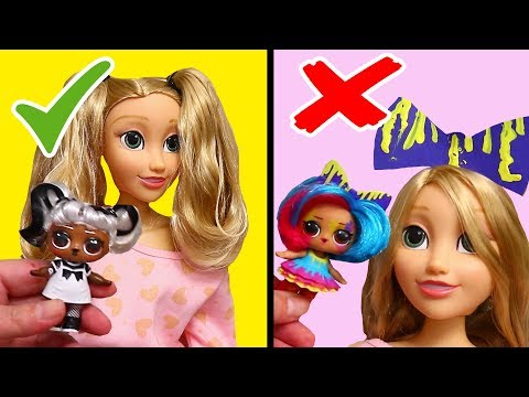 Recreating LOL Surprise #Hairgoals Hairstyles on Rapunzel Doll ! Toys and Dolls Fun for Kids   SWTAD