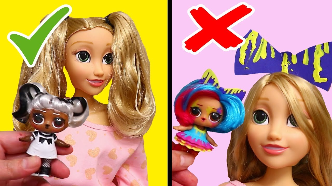 Recreating LOL Surprise Hairgoals Hairstyles on Rapunzel Doll ! Toys and  Dolls Fun for Kids