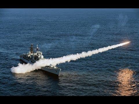 HMS Edinburgh (D97) Fires Sea Dart Missiles