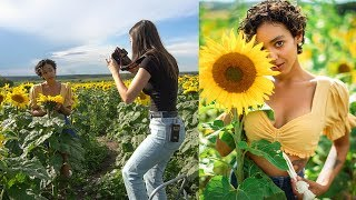 Natural Light Photoshoot in Sunflower Field, Behind the Scenes