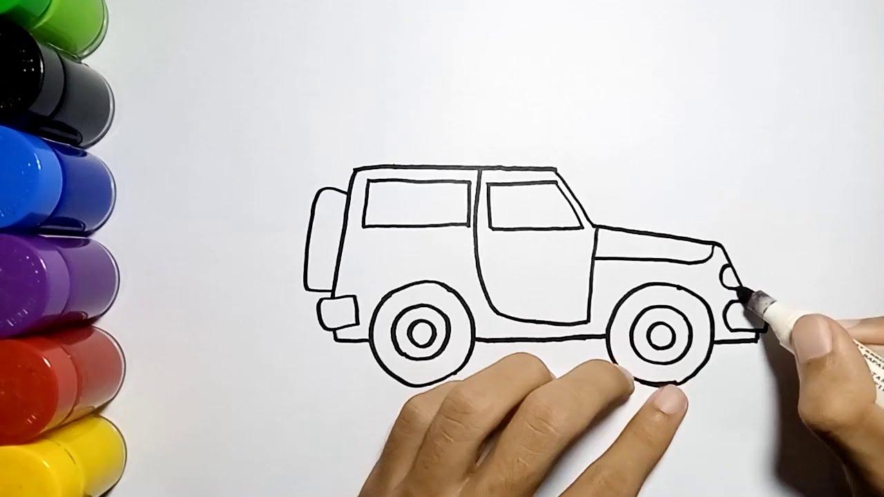 Cara Mudah Menggambar Mobil Jeep Untuk Anak How To Draw A Jeep Car Easy Youtube