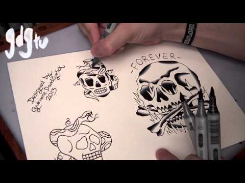 How to Paint Tattoo Flash With Markers - Old School Skull and Snake Designs
