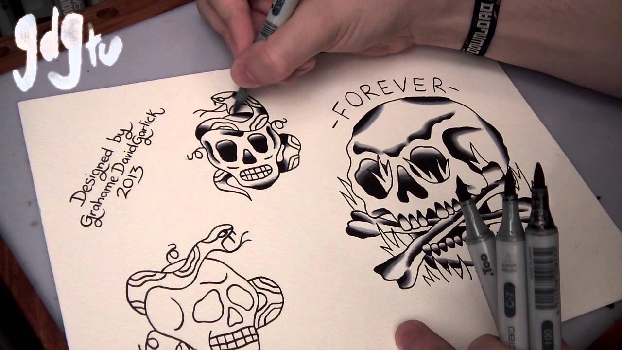 How To Paint Tattoo Flash With Markers Old School Skull And Snake Designs