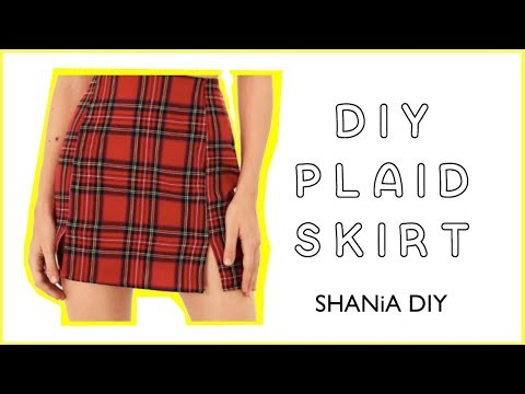 How to make a DIY Plaid Skirt with Two Slits in the front || Shania DIY
