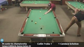 Collin Truba vs Candace Scholtze (18 and under) - Michigan Junior State 9-Ball Championship thumbnail