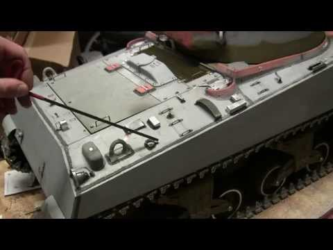 1/6th scale RC Armortek M4A4 sherman tank project video #14 (Ready to Paint!)