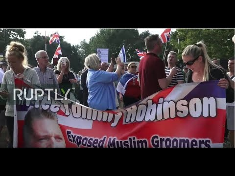 : Protesters gather outside London's Belmarsh Prison in support of Tommy Robinson