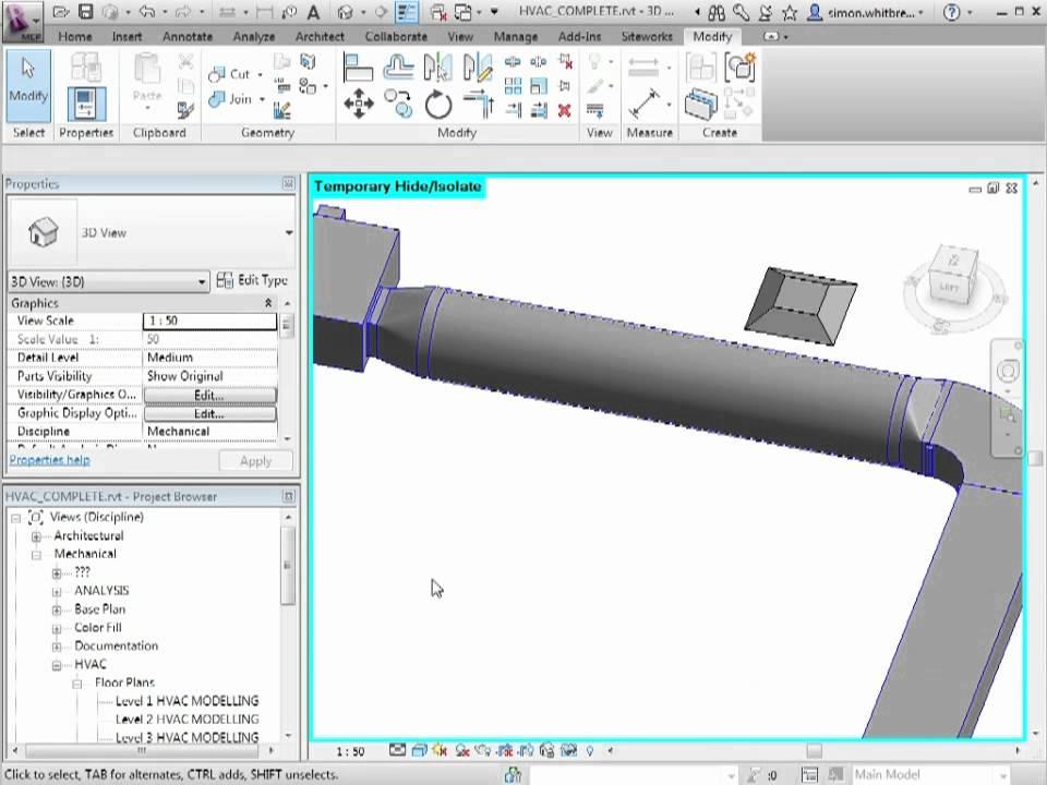 Revit MEP 2012 Tutorial - HVAC: Modifying Ducts