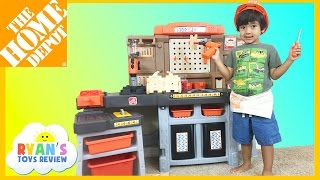 The Home Depot Pro Play Workshop and Utility Bench by Step 2 with Ryan and his family from Ryan ToysReview! Great Toy for kids