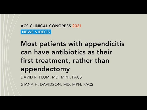 Most patients with appendicitis can have antibiotics as their first treatment, rather than appendectomy