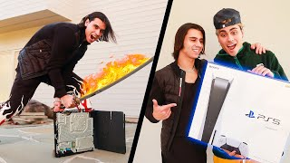DESTROYING My Brother's PS4 & Surprising him with NEW PLAYSTATION 5! (PS5 Unboxing)