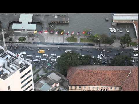 Street traffic from above Bitexco Financial Tower, Saigon, Vietnam
