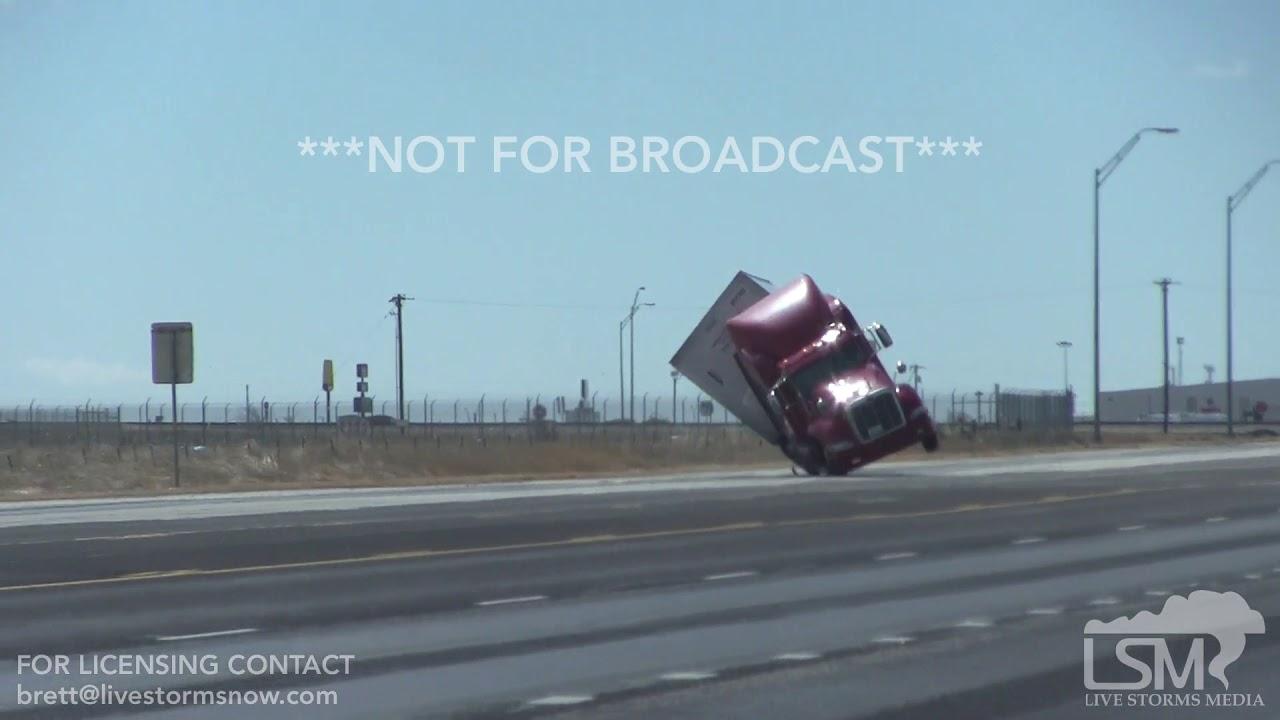 3-13-19, Two Semi Trucks Blown Over On Video!  Amarillo TX .mp4