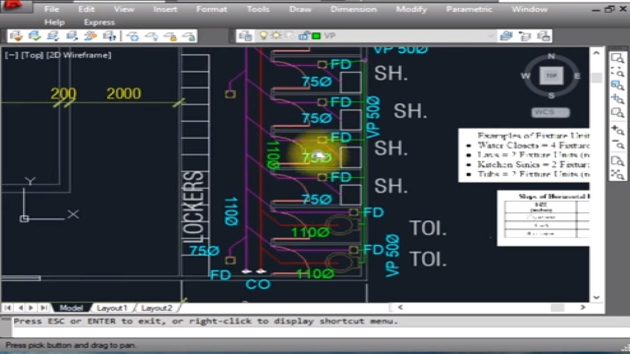 hight resolution of plumbing design and calculation of drainage system with autocad drafting in english hindi