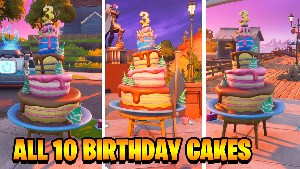 All 10 Fortnite 3rd Birthday Cake Locations Chapter 2 Season 4 Dance In Front Of Different Cakes Youtube
