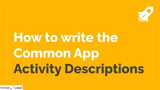 How to write the Common App activities section with examples | College Lead
