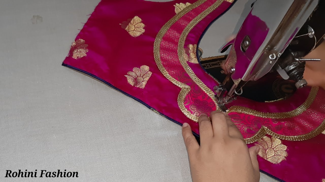 Designer patchwork blouse Cutting and stitching back neck