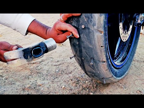 Nail vs Tyre - Tubeless Bike Tyre Puncture Test | MR. INDIAN HACKER