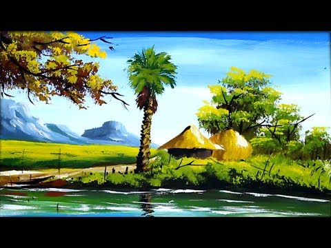Village Scenery Drawing With Acrylic Landscape Painting