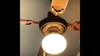 Vintage Ornate Sanyo Metal Bladed Ceiling Fan