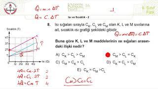 9.Sınıf MEB Fizik Kazanım Kavrama Testi-16 +PDF (Isı ve Sıcaklık-2)  [2019-2020]