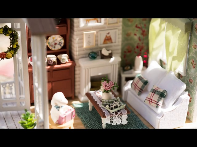 DIY Miniature Dollhouse Kit Happy Times with Working Light