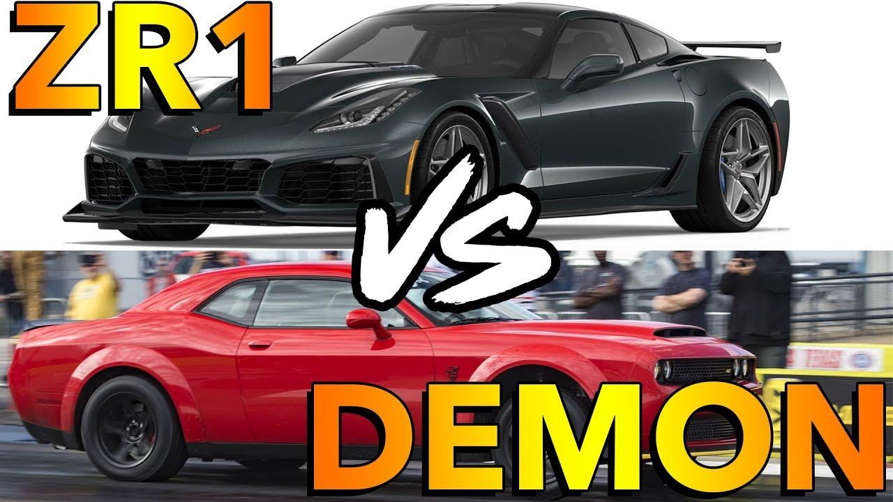 Dodge Demon Vs 2019 Corvette Zr1 Dig Race Youtube