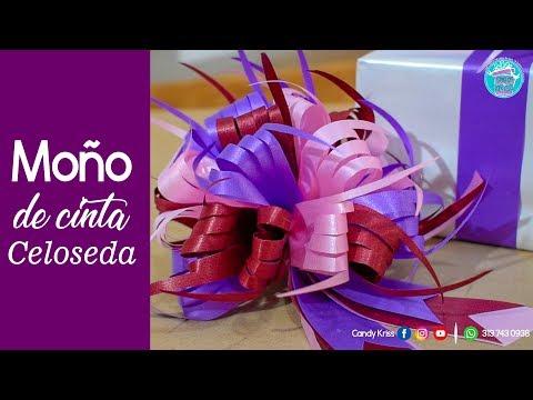 TUTORIAL :Moño Pom Pom en Celoseda | Moño cinta papel