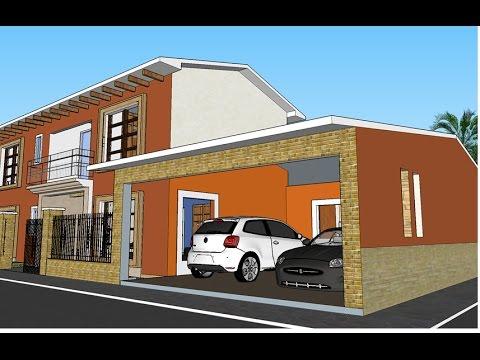 Plano de casa terreno 20 x 40 mts youtube for Planos de casas con medidas