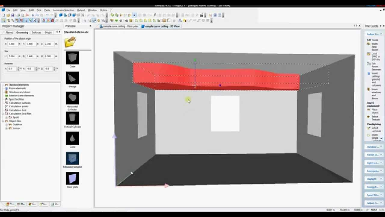 How To Draw A Curve Ceiling In Dialux 4 12 Youtube