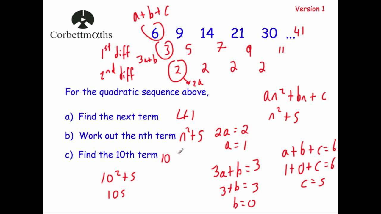 Quadratic Sequences Version 1 - Corbettmaths - YouTube