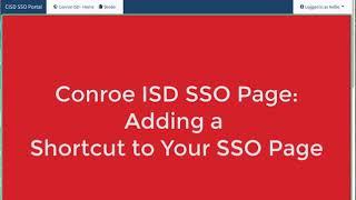 Conroe SSO: Adding a Shortcut