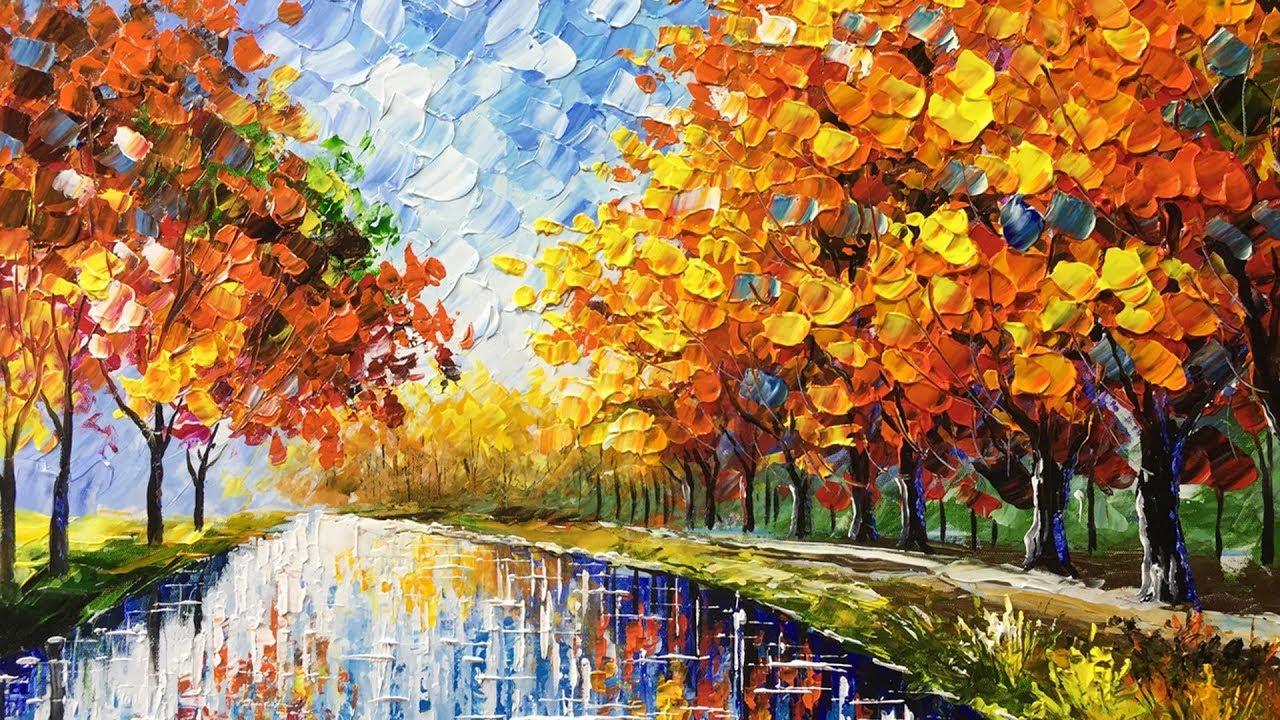 Landscape autumn palette knife acrylic painting youtube for Palette knife painting acrylic