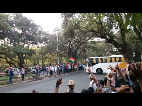 Team India Bus Leaving The Chinnaswamy (Kohli At Front Seat)