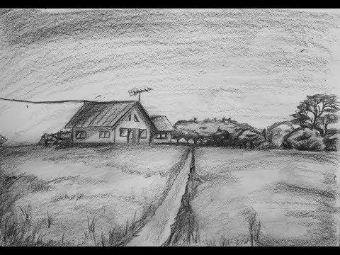Wn Menggambar Pemandangan Rumah Tua Menggunakan Pensil