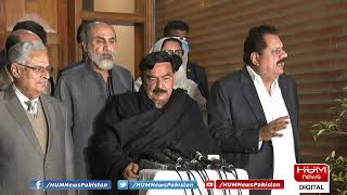 Sheikh Rasheed talks to media