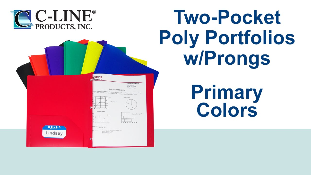 two pocket poly folder with prongs assorted primary colors c line