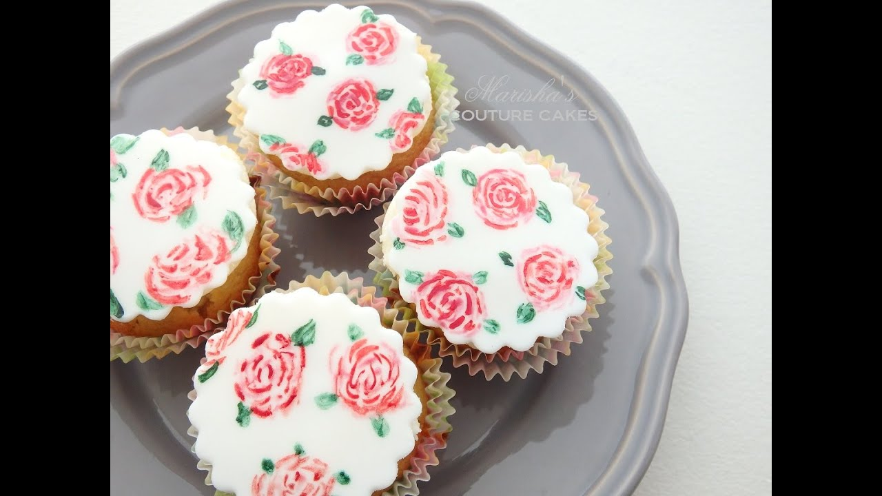 Hand Painted Watercolor Rose Cupcakes Youtube