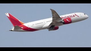 Boeing 787 Dreamliner N781AV Avianca taxi and takeoff from Madrid Barajas Adolfo Suarez airport